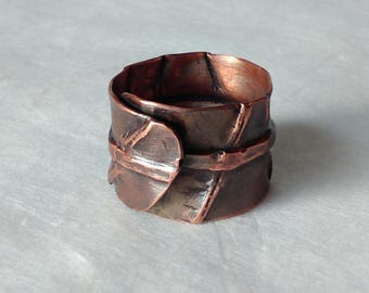 Fold formed ring, wide copper ring, forged copper ring, hammerred ring