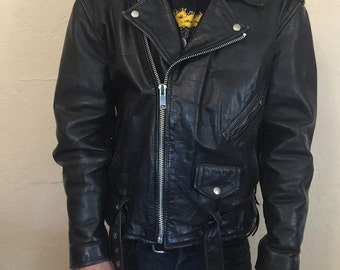 Black Vintage Leather Motorcycle Jacket Size L/XL