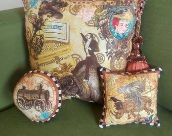 3 Steampunk Pillows, Key Tassel, Tapestry, Paisley, Chenille
