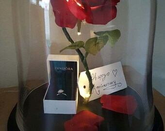 """Beauty and the Beast Rose, Enchanted Rose, Rose in Glass Cloche Bell Jar, Light Up Rose, LED Lights - 13"""""""