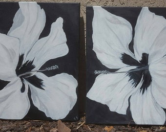 White Hibiscus Acrylic Set of Paintings