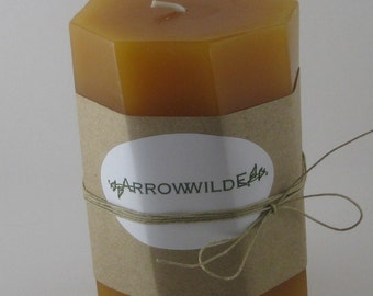 Smooth Amber Scented Spiral Pillar Candle