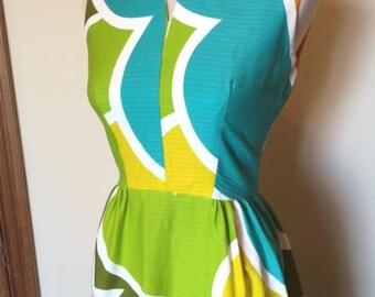 "Fun & Fabulous Vintage 60s/70s Cotton Mod Floral Maxi Party/HostessPatio BBQ  Dress -- small/medium (34-35"" bust) -- excellent condition"