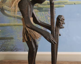 1980's Indonesian Hand Sculpted Primitive Tribal Standing 'Tiki Style' Warrior Statue with Spear &  Ancestor-Head Shield