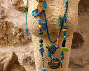 "Collar long necklace ""Peacock"""
