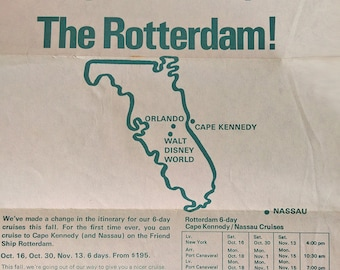 Promotional leaflet-poster for cruises with the ss Rotterdam from New York