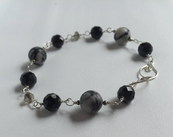 Black Silk, Crystal, and Sterling Silver Wire-Wrapped Bracelet
