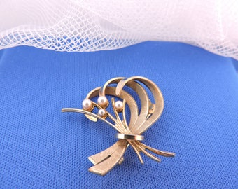 Vintage Gilded seed Pearls Andreas Daub A * D Brooch