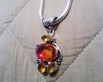 925 sterling silver 6mm chain, orange and yellow topaz pendant,
