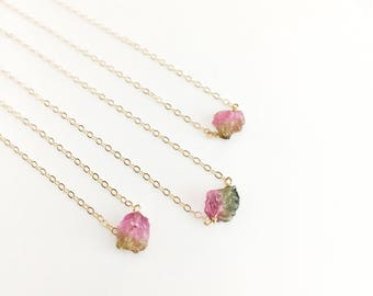Gold Tourmaline Necklace Watermelon Tourmaline Jewelry Dainty Gold Chain Delicate Gold Necklace Mothers Day Gift for Mom Gold Filled Chain