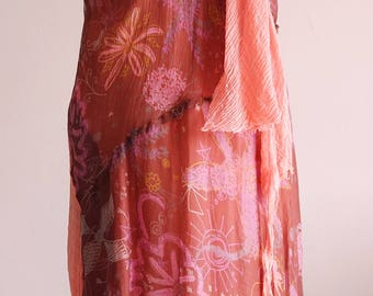 Printed silk Empire dress pink pleated effect