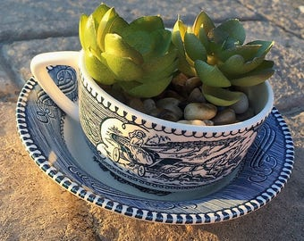 "Vintage Royal China ""Currier & Ives"" dishes -- would make beautifully detailed succulent planters!"