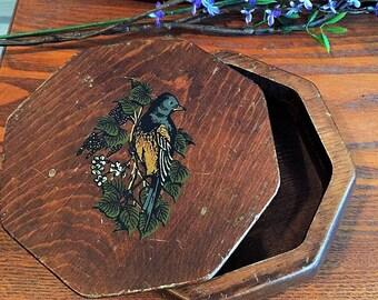 Vintage 1920s octagonal wooden box w/ bird
