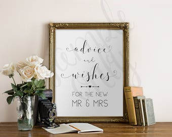 Advice and Wishes, Sign, Printable, DIY, For the New Mr & Mrs, Guest table Sign, Instant Download, Printable Wedding Sign, Weddings, Shower