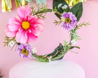 Floral Ring Topper- Cake topper, prop cake, party decor