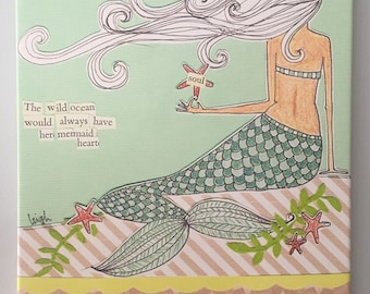 Curly Girl sign canvas: She Knew Someday the Sea would call her home
