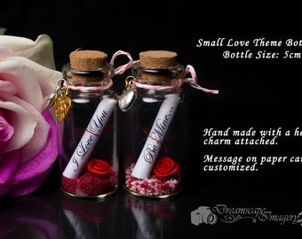 Small handmade minature message in a bottle Love Themes