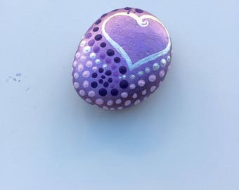 Stone handpainted, personalized with your initials, purple metallic