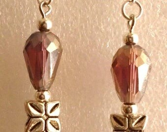 Earrings Crystal/Glass Amber- Custom Made in the USA with Free Shipping