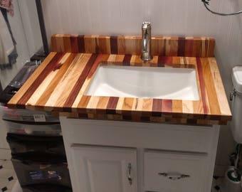 butcher block bathroom vanity countertop