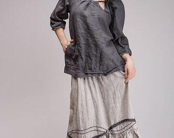 Boho pure linen blouse