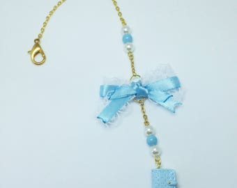 Fimo - Planner kikki k ice blue imitation, blue jewel, Ribbon - Planner charm mini kikki k, blue, ribbon, polymer clay