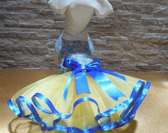 XXS Yellow and blue dog tutu
