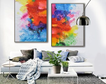 Set of 2 Original abstract painting on canvas, large vertical contemporary art, hand painted. FREE shipping. By Ethan Hill Art No.P1