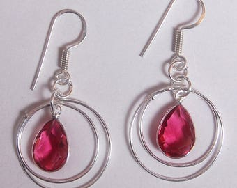 Hand Crafted Pink Topaz studded .925 Sterling Silver Earrings [Free Shipping ! ]