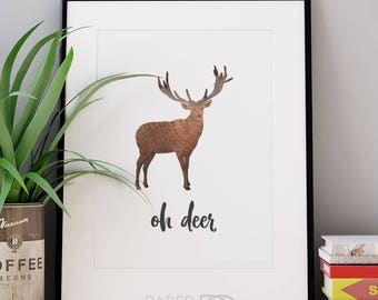 WOODLAND ART, printable art, oh deer, wall art, watercolor art, minimalist decor, kids room decor, woodland decor, printable deer art