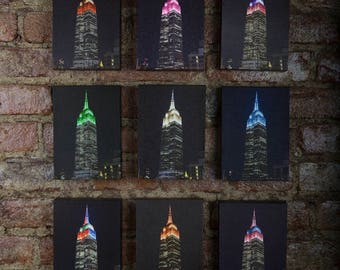Empire State Building. Set of 9 pictures. New York. Manhattan. Canvas art print