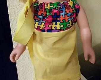 Autism Puzzle Piece Dress for 18 Inch Dolls