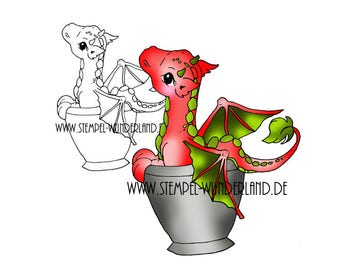 Digi stamp Dragon in the cup of digital stamp + coloured printable
