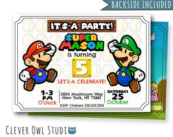 Super Mario Invitation, Mario Birthday Invitation, Super Mario Party, Super Mario Birthday Party, Personalized, Mario and Luigi, Printables