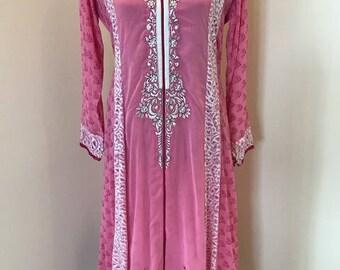 New Pakistani Indian Ethnic Dress Shalwar Kameez Salwar Suit 3 Piece Stitched Pink Chiffon Embroidered Shirt Kurta Kurti Dupatta