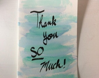 Teal Watercolor & Calligraphy Thank You Card