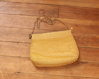 vintage gold mesh evening bag by Warren Reed . domed ball bead mesh purse with long chain shoulder strap . 1970s 80s purse