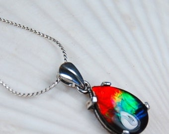 Ammolite pendant.Grade AA with more colours than the grade requires.Bright.Gorgeous.#012717