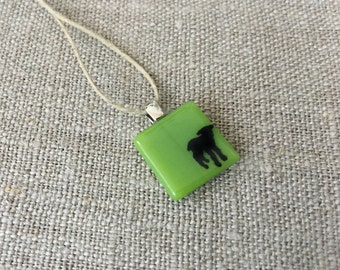 Little Lamb Pendant Glass Jewelry Necklace of Fused Glass by Happy Owl - Farm animal sheep black on pine green cute kids jewelry