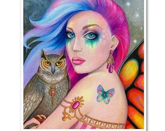 Signed 8 x 10 Print Key to My Heart Art Pink Nouveau Goddess Diva Mother Nature B. K . Lusk