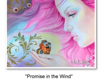 Signed 8 x 10 Print Promise in the Wind Art Pink Nouveau Goddess Diva Mother Nature B. K . Lusk