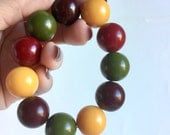 Vintage Beaded Bracelet - Fall Colors, Cranberry Red, Mustard Yellow, Olive Green, Plum Brown - Elastic Stretch Bracelet - Plastic Beads