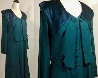 Hunter Green Dress and Jacket - Emerald Sleeveless Midi Dress and Bolero, Large Satin Collar, Rosettes - Vintage 80s 90s Petite Small Medium