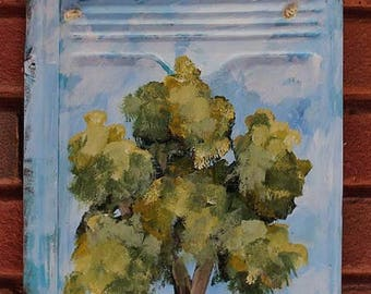 Tree Painting, Metal Shingle, Vintage, Metal, Original Painting, Home Decor, Patio, Garden Art, Porch, Winjimir, Art, Tree, Blue Sky, Gift