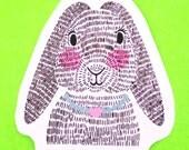Bunny Love Woodlands Creature Rabbit Hare Cute Kawaii Artsy Animals Series Illustrated Waterproof Vinyl Sticker