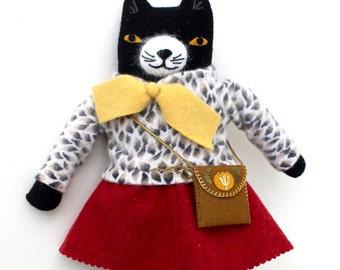 Kitty Girl wool doll plush retro fancy