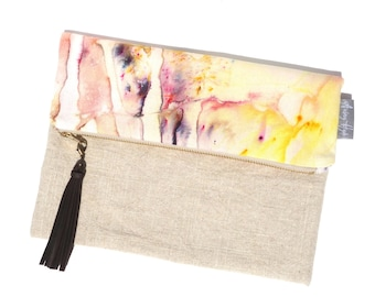 Beaumont Hand Dyed Fold Over Pouch Sunrise in Linen Leather Tassel Travel Clutch