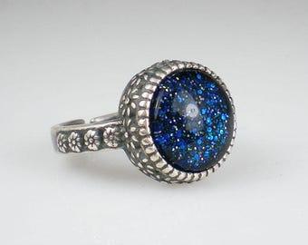 Sapphire Blue Aqua Glitter Ring Nail Polish Adjustable Ring Jewelry