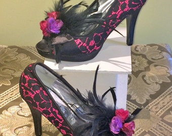 Black Lace Heels with Flowers, Lace and Feathers