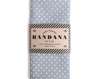 Grey Polka Dot Bandana, Hand Screen Printed and Soft
